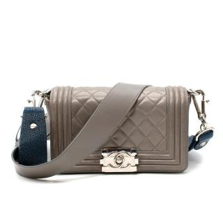 Chanel Taupe Quilted Leather & Blue Stingray Small Wide Strap Boy Bag
