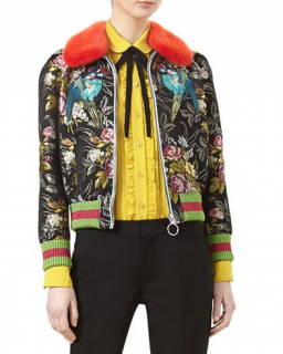 Gucci Jacquard silk bomber jacket with red mink fur collar