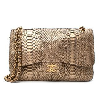 Chanel Gold Python Large Double Flap