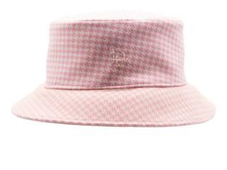 Dior Kid's T4 Bucket Hat in Rosewood Houndstooth