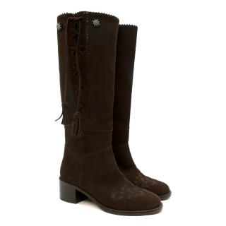 Chanel Brown Suede Embroidered Tassel Knee Boots