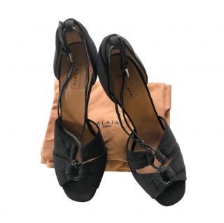Alaia Black Lace-Up Sandals