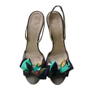 Emilio Pucci Silk Printed Bow Detail Slingback Sandals