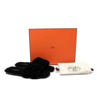 Hermes Black Fluffy Shearling Oran Sandals - Discontinued/Rare