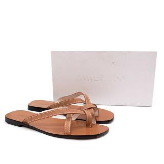 Zimmermann Tan Flat Leather Sandals