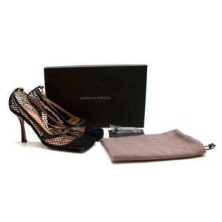 Bottega Veneta Black Stretch Leather-Trimmed Mesh Sandals