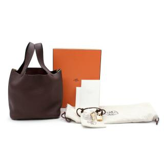 Hermes Taurillon Clemence Rouge Sellier Picotin Lock 18 GHW