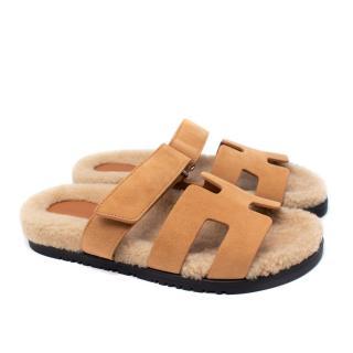 Hermes Golden Beige Shearling Chypre Sandal - Sold Out