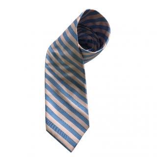 Pal Zileri Blue & Pink Silk Striped Tie