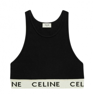 Celine Athletic Cotton Knit Black Sports Bra - Size M Sold Out