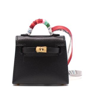 Hermes Black Swift/Chevre Leather Micro Kelly Charm GHW - Sold Out
