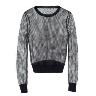 Bottega Veneta Snakeskin Trim Mesh Black Jersey Knit Top