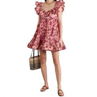 Zimmermann The Lovestruck ruffled floral-print pliss�-crepe mini dress