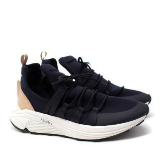 MaxMara Navy & Beige Elasticated Sneakers