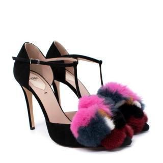 Fendi Mink & Fox Fur 110mm T-Strap Sandals