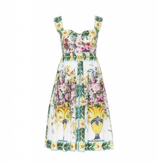 Dolce & Gabbana Majolica Rose Vase Print Bustier Dress