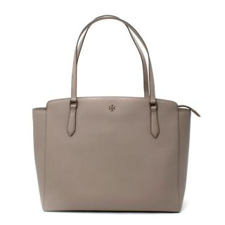 Tory Burch Grey Saffiano Leather Tote Bag