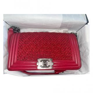Chanel Red Leather & Tweed Medium Boy Bag