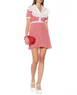 MIU MIU Lace-trimmed floral silk dress