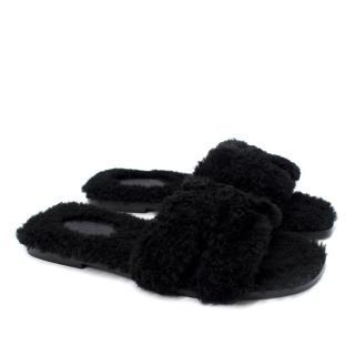 Hermes Black Fluffy Shearling Oran Sandals- Discontinued/Rare
