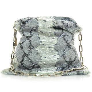 Gucci by Tom Ford Vintage Blue Beaded Python Effect Shoulder Bag