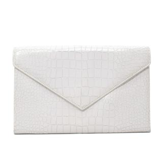 Alaia White Croc-Embossed Leather Clutch With Mirror