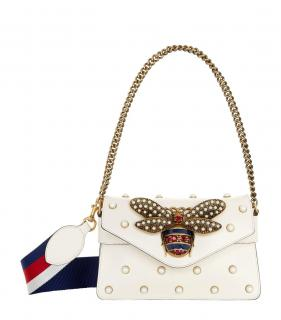 Gucci Broadway New Pearl Studded Bee Shoulder Bag
