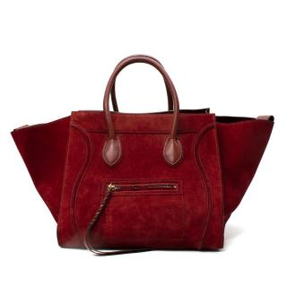 Celine Red Leather & Suede Mini Luggage Tote