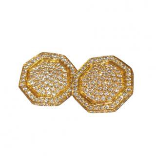 Bespoke 18ct Yellow Gold Pave Diamond Hexagonal Earrings