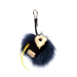 Fendi Navy Blue Mink & Rabbit Fur Zesty Bag Bug Charm