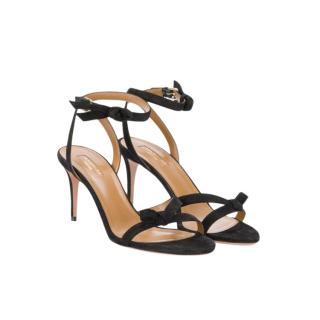 Aquazzura Black Suede Bow Sandals