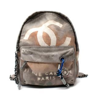 Chanel Grey Painted Canvas Medium Graffiti Backpack