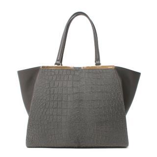 Fendi 3Jours Grey Croc-Embossed Calf Hair & Leather Tote