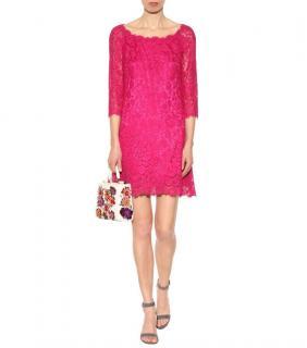 Dolce & Gabbana Fuchsia Lace Shift Dress