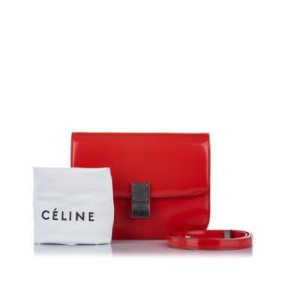 Celine Red Patent Leather Medium Classic Box Bag
