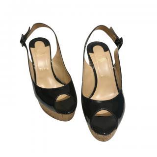 Christian Louboutin Patent Slingback Cork Sandals
