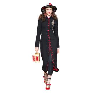 Dolce & Gabbana Black & Red Wool & Silk Blend Coat