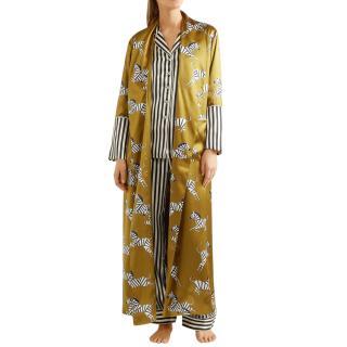 Olivia Von Halle Capability Mona Zebras-print Silk Robe