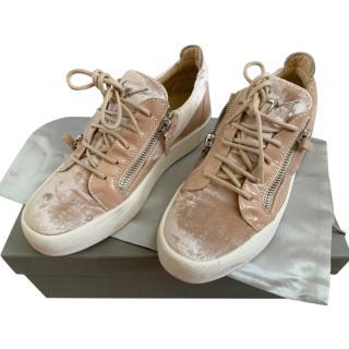 Giuseppe Zanotti Blush Velvet & Leather Trainers