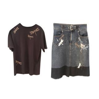 REDValentino Dragonfly Embellished Denim Skirt & T-Shirt