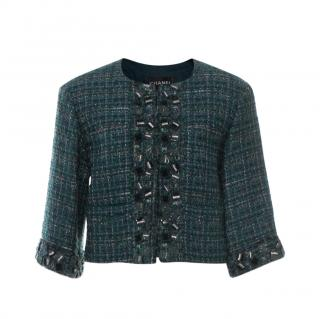 Chanel Emerald Green Lesage Tweed Cropped Embroidered Jacket