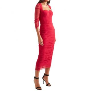 Dolce & Gabbana Red Ruched Stretch-tulle Midi Dress
