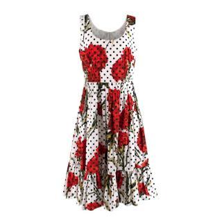 Dolce & Gabbana Floral & Polka Dot Cotton Poplin Dress