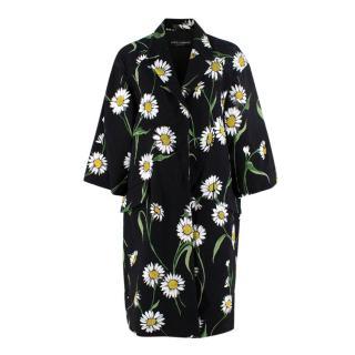Dolce & Gabbana Black Daisy Print Topper Coat
