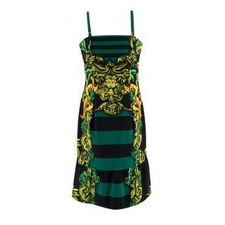 Prada Black & Green Striped Printed Sleeveless Dress