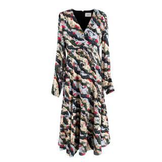 Erdem Black Wavy Floral Print Dress