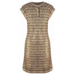 Chanel Metallic Knit Cashmere & Wool Cap Sleeve Dress