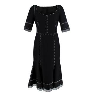 Dolce & Gabbana Contrast Stitch Black Chiffon Trim Dress