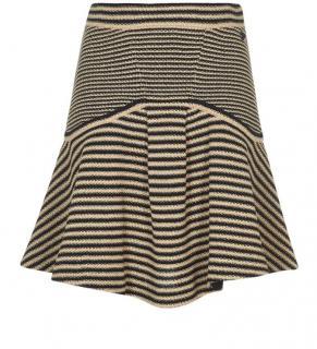 Chanel Beige & Black Contrast Stripe Mini Skirt