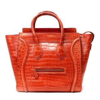 Celine Orange Crocodile Leather Mini Luggage Tote